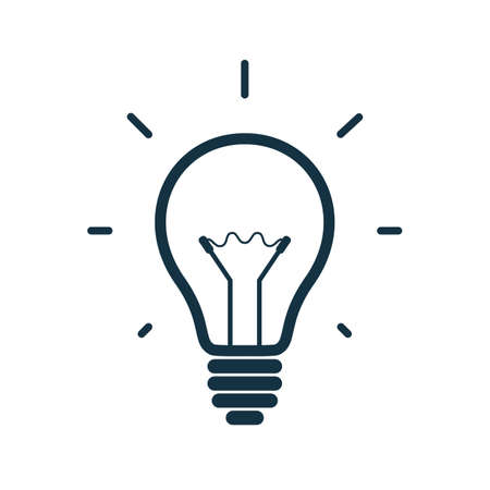 Simple light bulb icon isolated on white background. Vector illustration Çizim