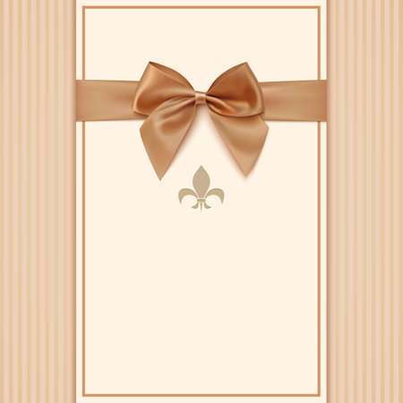 vector greeting card: Vintage greeting card template with golden bow and ribbon. Invitation. Vector illustration Illustration