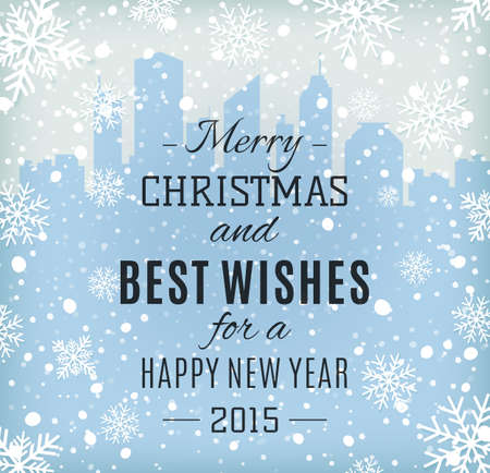 happy new year text: Merry Christmas and Happy New Year text label on a winter background with snow and snowflakes.  Illustration