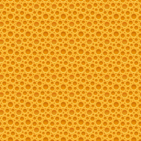 plastic texture: Yellow seamless plastic background with holes. Vector illustration