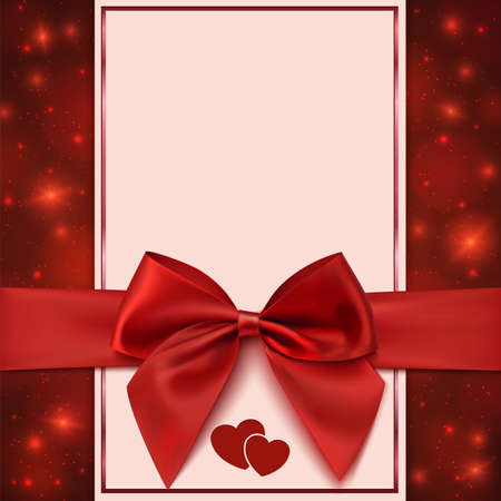broshure: Greeting card template with red bow, ribbon and two hearts. Invitation. Vector illustration