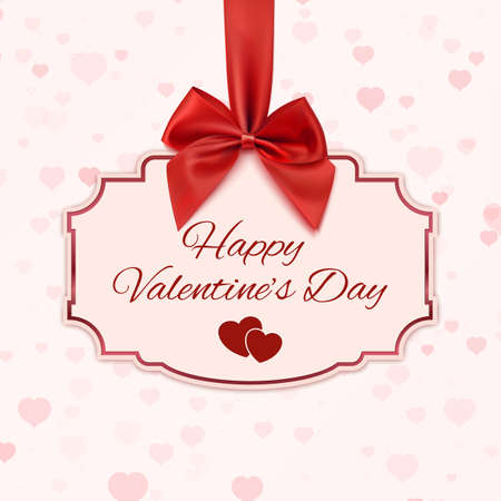 lazo regalo: Bandera clásico Feliz día de San Valentín con la cinta roja y un arco. Ilustración vectorial Vectores