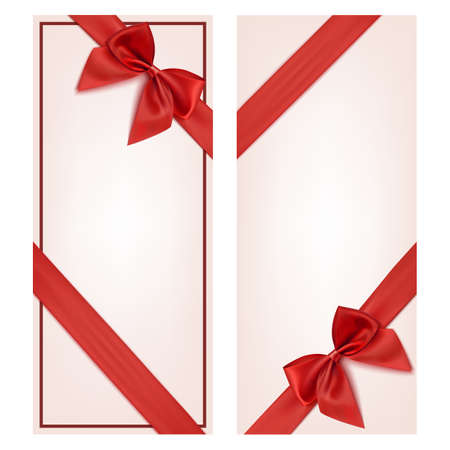 Gift card with red ribbon and a bow. Gift voucher template. Vector illustration