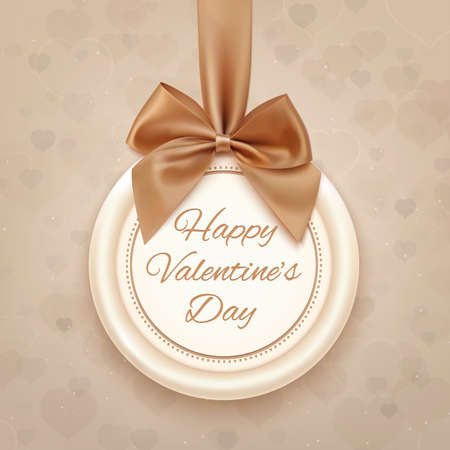 Happy Valentines Day badge, with ribbon and bow. Valentines Day decoration. Vector illustration