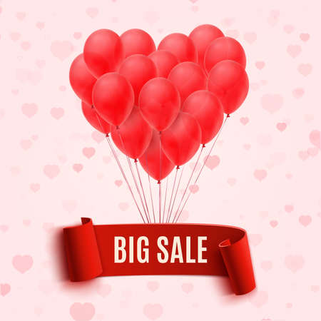 Balloons in form of heart holding big sale red banner. Vector illustration Illustration