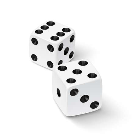 dice: Realistic white dice icon isolated on white background. Vector illustration Illustration
