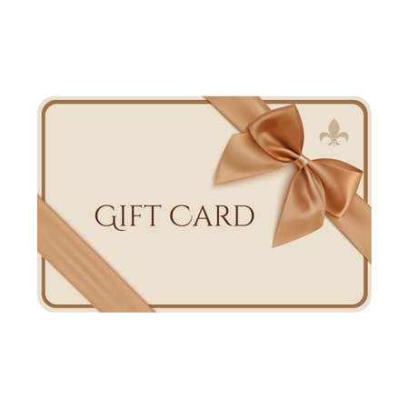 Gift card template with golden ribbon and a bow. Vector illustration