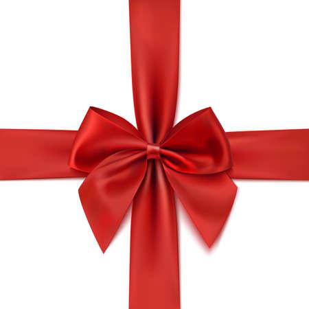 lazo regalo: Lazo rojo realista aislada sobre fondo blanco. Cinta. Ilustración vectorial