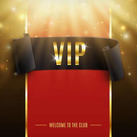 Fondo VIP con la cinta curvada negro realista, los rayos de luz, partículas y las estrellas. Ilustración vectorial