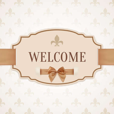 Welcome, vintage, retro banner with golden ribbon and a bow. Vector illustration