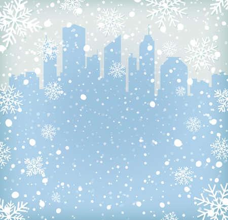 눈 조각 및 도시 실루엣 배경입니다. 벡터 일러스트 레이 션