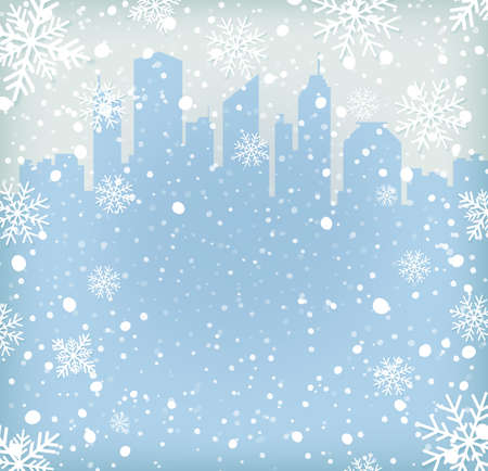 Background with snow flakes and city silhouette. Vector illustration