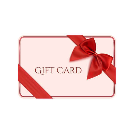 Gift card template with red ribbon and a bow. Vector illustration Vettoriali
