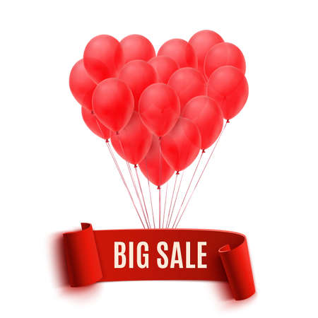 Balloons in form of heart holding big sale red banner. Vector illustration Vector