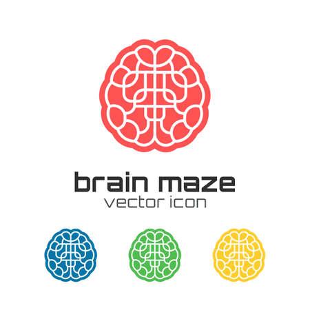 ni�os pensando: Conjunto de iconos del laberinto del cerebro. Ilustraci�n vectorial Vectores