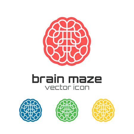 maze game: Set of brain maze icons. Vector illustration