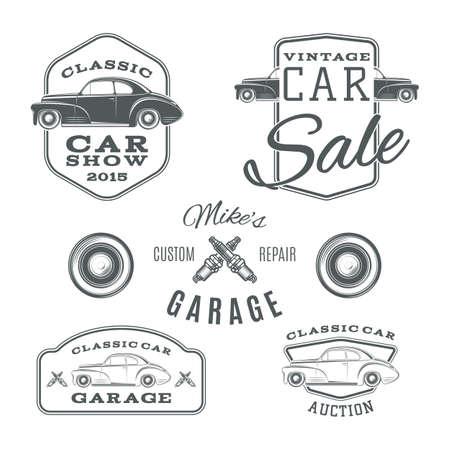 piezas coche: Conjunto de vintage, etiquetas servicios de coches cl�sicos aisladas sobre fondo blanco. Ilustraci�n vectorial