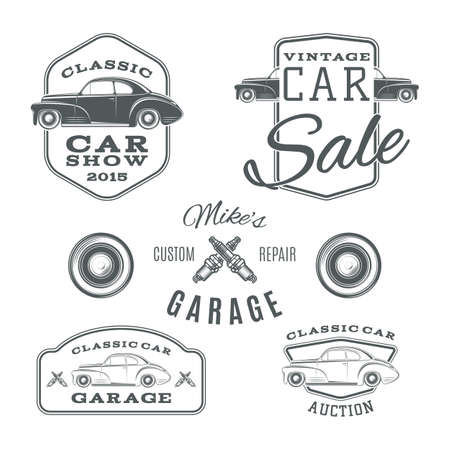 race cars: Set of vintage, classic car services labels isolated on white background. Vector illustration