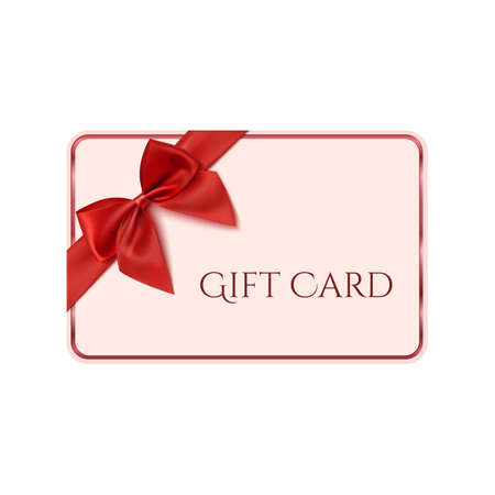 Gift card template with red ribbon and a bow. Vector illustration Çizim