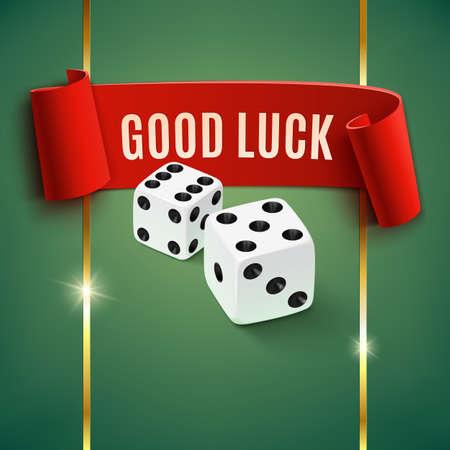 Good luck, casino achtergrond wit dobbelstenen. Vector illustratie Stock Illustratie