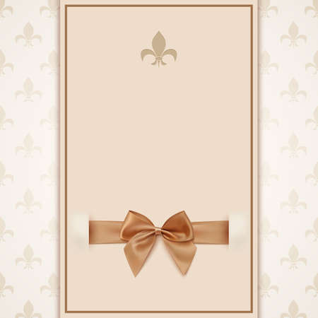 golden shower: Vintage greeting card template with golden bow and ribbon. Invitation. Vector illustration Illustration