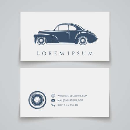 car show: Business card template. Classic car logo. Vector illustration Illustration