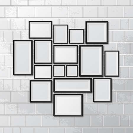 Big set of picture frames on brick wall. Vector illustration
