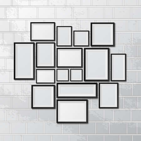 Big set of picture frames on brick wall. Vector illustration