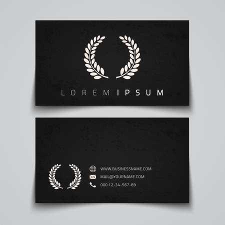 simple logo: Business card template. Laurel concept logo. Vector illustration