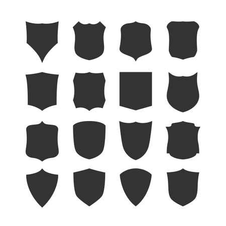 medieval shield: Big set of blank, classic shields, templates. Design elements. Vector illustration