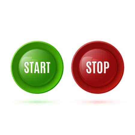 stop button: Two glossy buttons, start and stop. Vector illustration