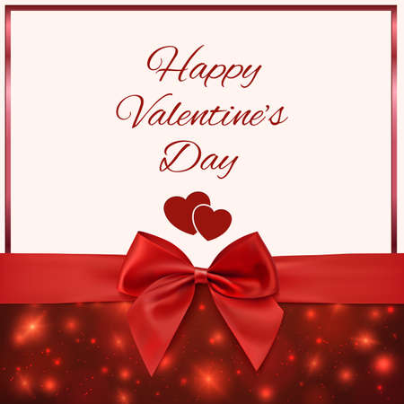 Valentines Day greeting card template with red bow and ribbon. Invitation. Vector illustration Vector