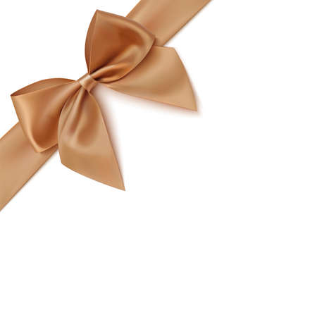 Realistic golden bow and ribbon isolated on white background. Vector illustration