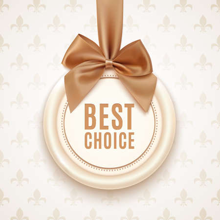 badge with ribbon: Best choice badge with golden ribbon and a bow. Vintage, retro background. Vector illustration
