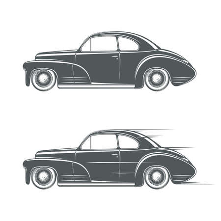 classic cars: Black and white classic car icon. Vector illustration Illustration