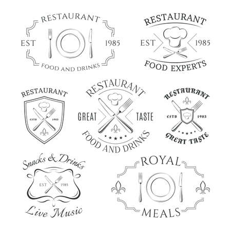 Set of heraldic restaurant icon, labels and badges. Vector illustration Иллюстрация