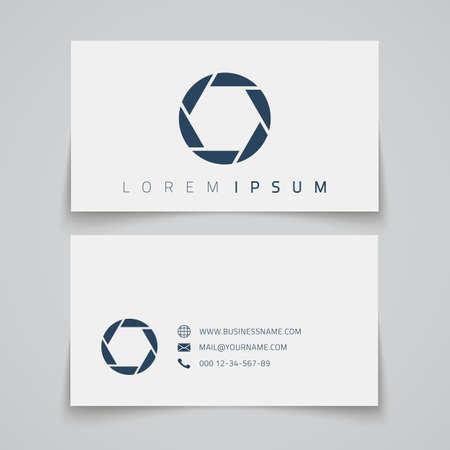 Business card template. Camera shutter concept logo. Vector illustration