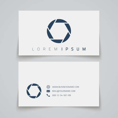 Business card template. Camera shutter concept logo. Vector illustration Vector