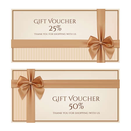 Gift voucher template with golden ribbon and a bow. Vector illustration