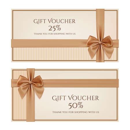 lazo regalo: Plantilla vale de regalo con cinta de oro y un arco. Ilustración vectorial Vectores