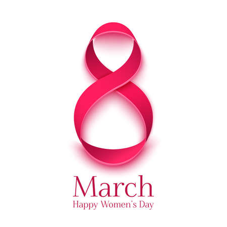 march: March 8 greeting card. Background template for International Womens Day. Vector illustration
