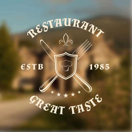 Restaurant logo template with shield, knife and fork, on blurred vintage background. Vector illustration Illustration