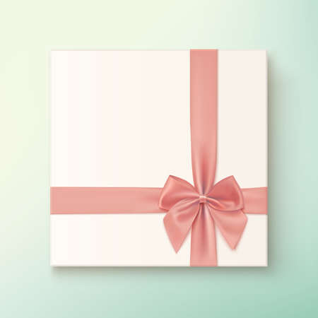 pink bow: Realistic, vintage gift icon with pink bow. Vector illustration Illustration