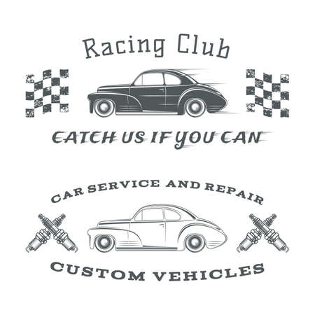 race car symbol: Set of two vintage, classic car labels, racing club and garage. Vector illustration