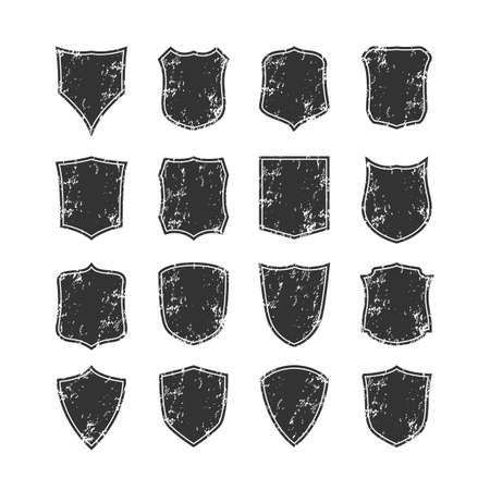 honor guard: Big set of blank, grunge, classic shields. Design elements. Vector illustration