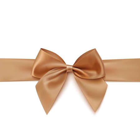 hair bow: Realistic golden bow and ribbon isolated on white background. Vector illustration