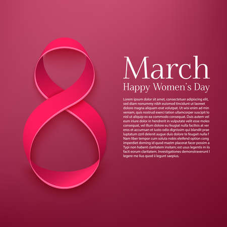 March 8 greeting card. Background template for International Womans Day. Vector illustrational