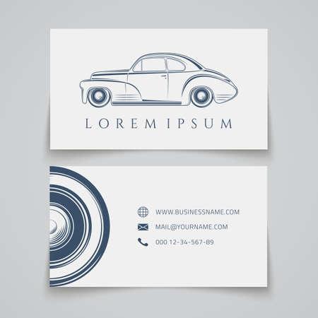 car show: Business card template. Classic car. Vector illustration