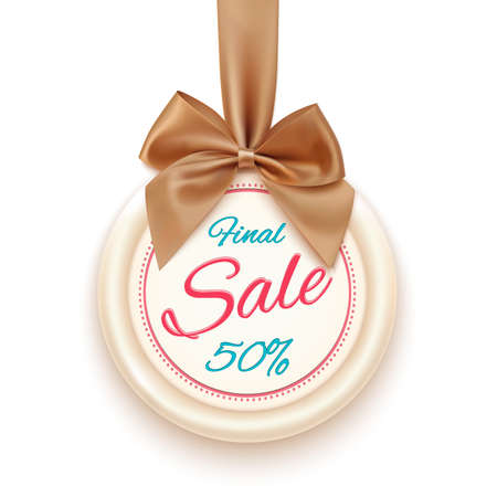 Final sale badge with golden ribbon and a bow, isolated on white background. Sale. Winter sale. Christmas sale. New year sale. Vector illustration