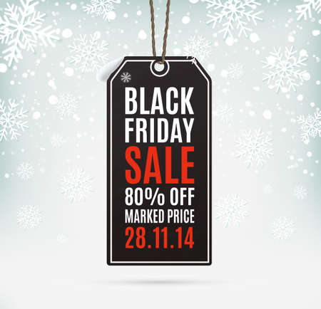 black a: Black Friday sale realistic paper price tag on background with snow and snowflakes. Label. Vector illustration